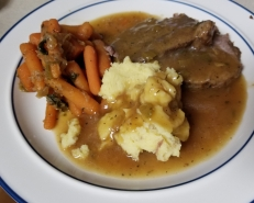 Slow Cooked Pot Roast Roasted Beef# Roasted Carrots# Roasted Mashed Potatoes#