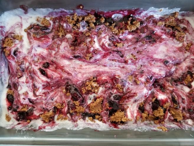 Keto Dairy Free Huckleberry Cheesecake Ice Cream