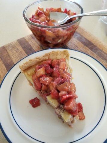 Strawberry Rhubarb Custard Pie with Strawberry Rhubarb Compote