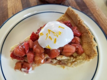 Strawberry Rhubarb Custard Pie with Strawberry Rhubarb Compote and Whipped Coconut Cream and lemon zest