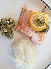 Keto Swedish Salmon with caper sauce and cauliflower mash