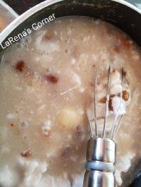 Caramel sauce blending in coconut milk