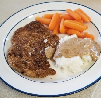 Chicken Fried Chicken, Mashed Potatoes, Carrots and Gravy