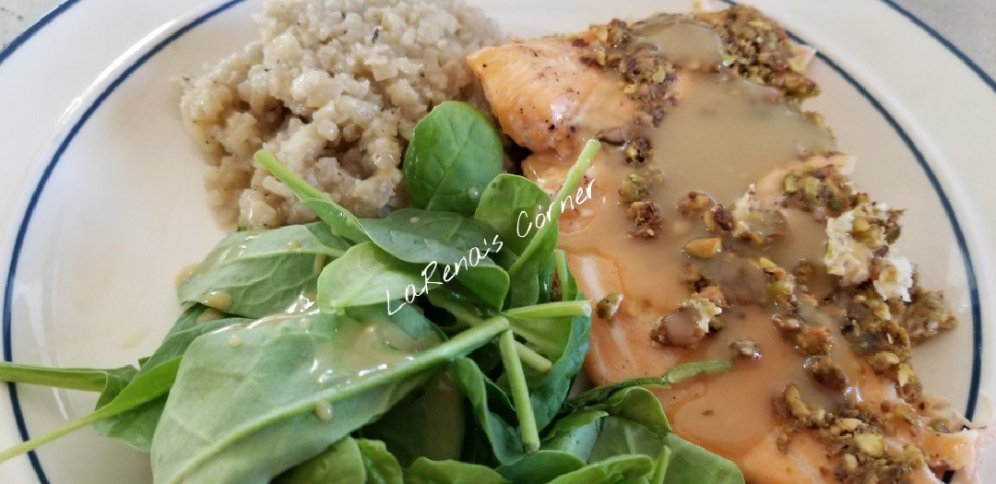 Pistachio Horseradish Salmon, Cauliflower Rice Pilaf, Spinach Salad with Maple Mustard Dressing
