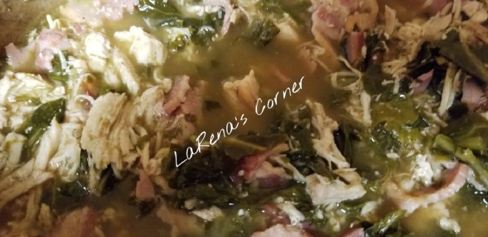 Collard Greens, chicken, ham, bacon and broth