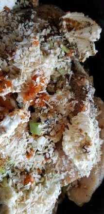 Chicken breast, cream cheese, leeks, shredded carrots and spices