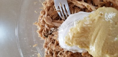 Shredded Chicken Homemade Mayo and sour cream