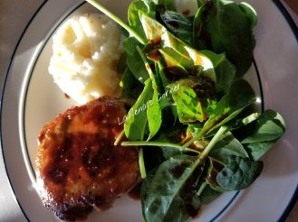 Sun Kissed Pork Chops, Mashed Potatoes and Spinach Salad