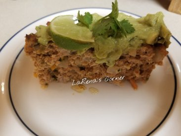 Southwest Meatloaf with Guacamole topping and lime wedge