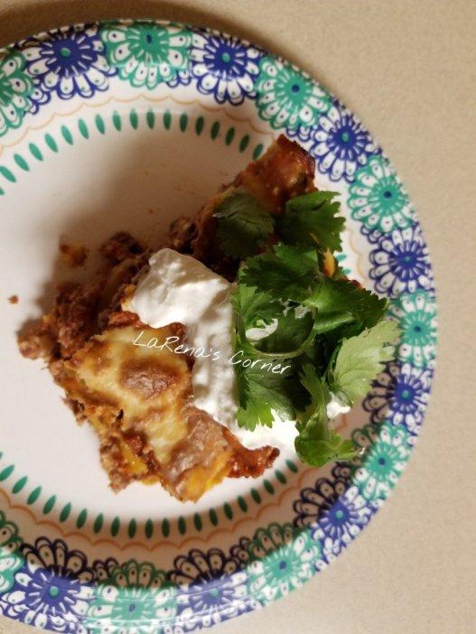 Enchilada Casserole with Sour Cream and Cilantro