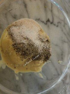 Dijon mustard with salt and pepper