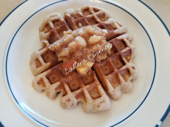 Waffle with cinnamon apple compote
