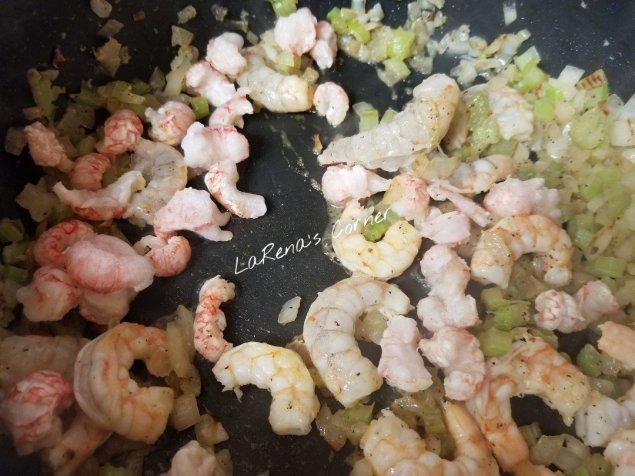 Shrimp, Langostino and onions and celery
