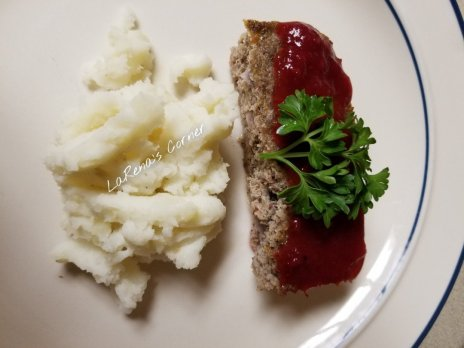 Ground Turkey Meatloaf topped with homemade Cranberry sauce